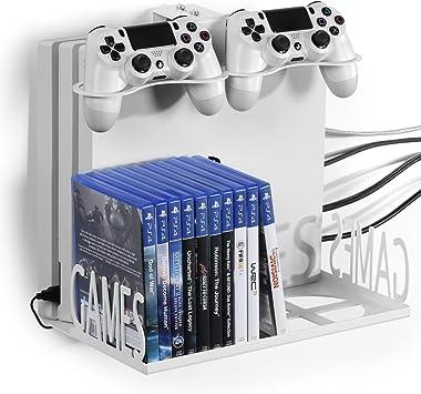 GameVspaceSwap Soporte Vertical para PS4, PS4 Slim y PS4 Pro, Xbox One X y One S con Ventiladores de enfriamiento | Espacio para Dos mandos, 22 Juegos | Blanco: Amazon.es: Electrónica