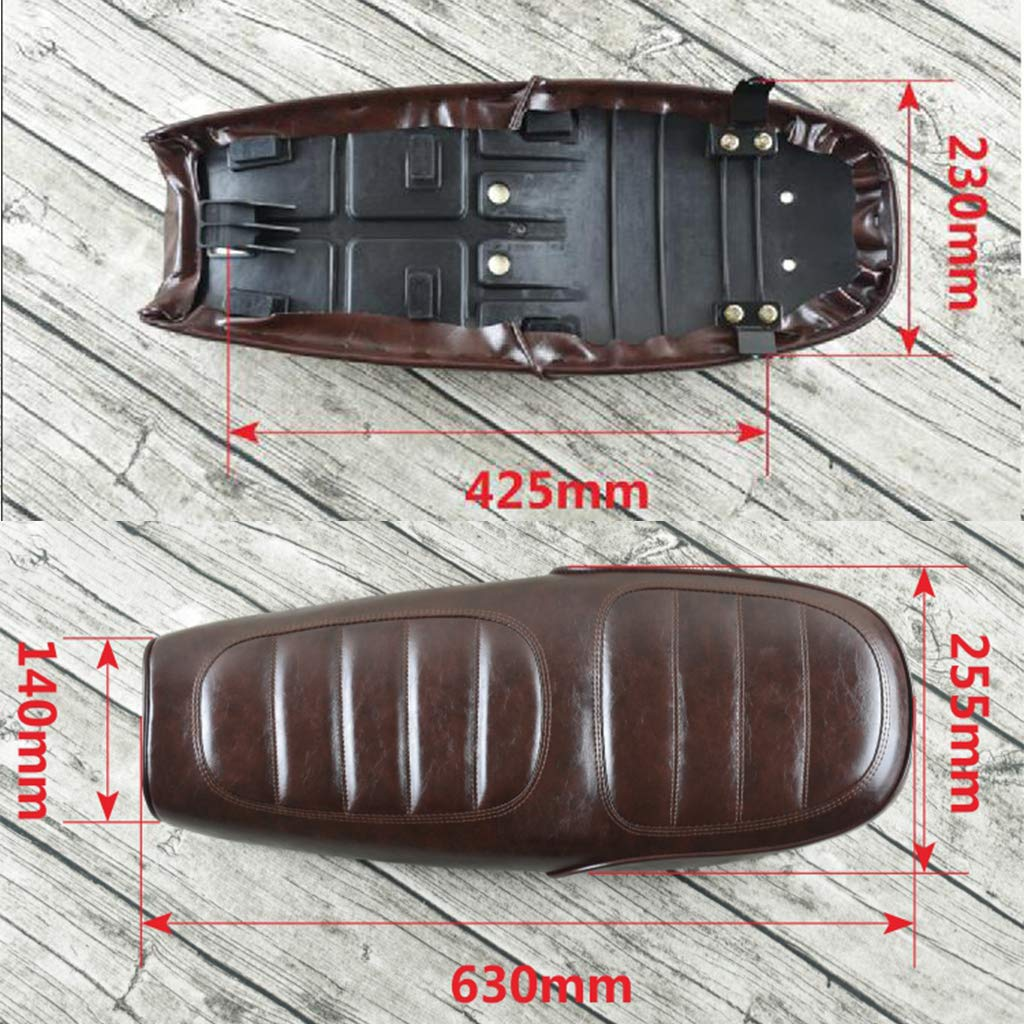 Made of Soft Leatherette Comfortable Gazechimp Motorcycle Seat Flat Brat Seat Cafe Racer Saddle Seat 630mm