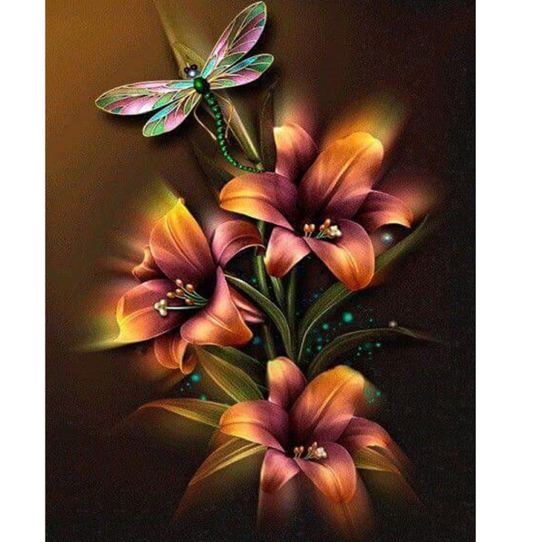 TiTCool 5D Diamond Painting, Flowers and a Dragonfly 25X30CM, Diamond Embroidery by Number Kits Arts Pasted Craft DIY Home Decor