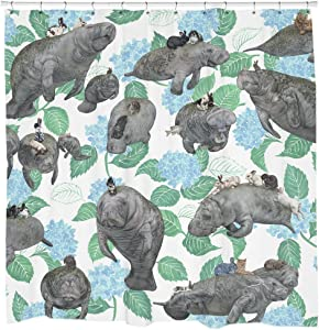 Sharp Shirter Rabbits Manatees Shower Curtain Set Cool Floral Decor Waterproof White Fabric No Linear Needed Hooks Included