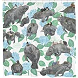Rabbits Riding Manatees Fabric Shower Curtain Boho Chic Art 75 inches long 12 Hooks Included