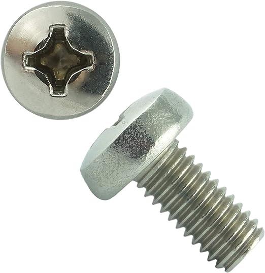 Linsenkopfschrauben DIN 7985 Kreuz  Edelstahl V2A  M2,5 x 2 bis M2,5 x 30 mm