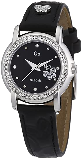 GO Girl Only - Reloj analógico para mujer de cuero negro