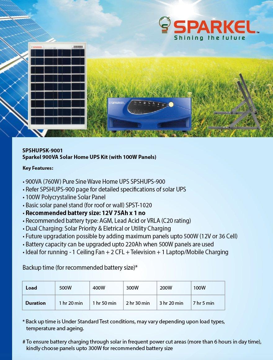 Sparkel Solar Home UPS Inverter Kit 900VA (760W) with 100W Panel ...