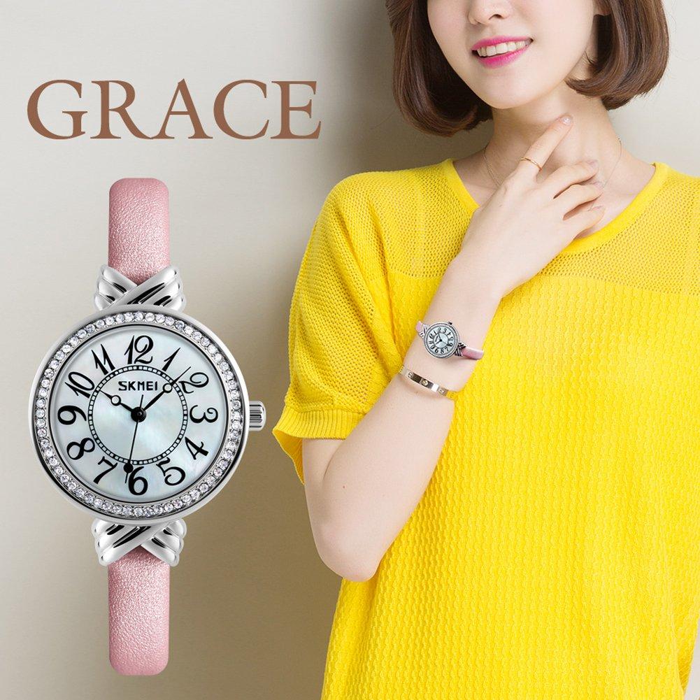 Luxury Brand Women Vintage Quartz Watch Fashion Female Crystal Leather Watch Girl Easy Reader Dress Watch (Light Blue) by Gosasa (Image #7)