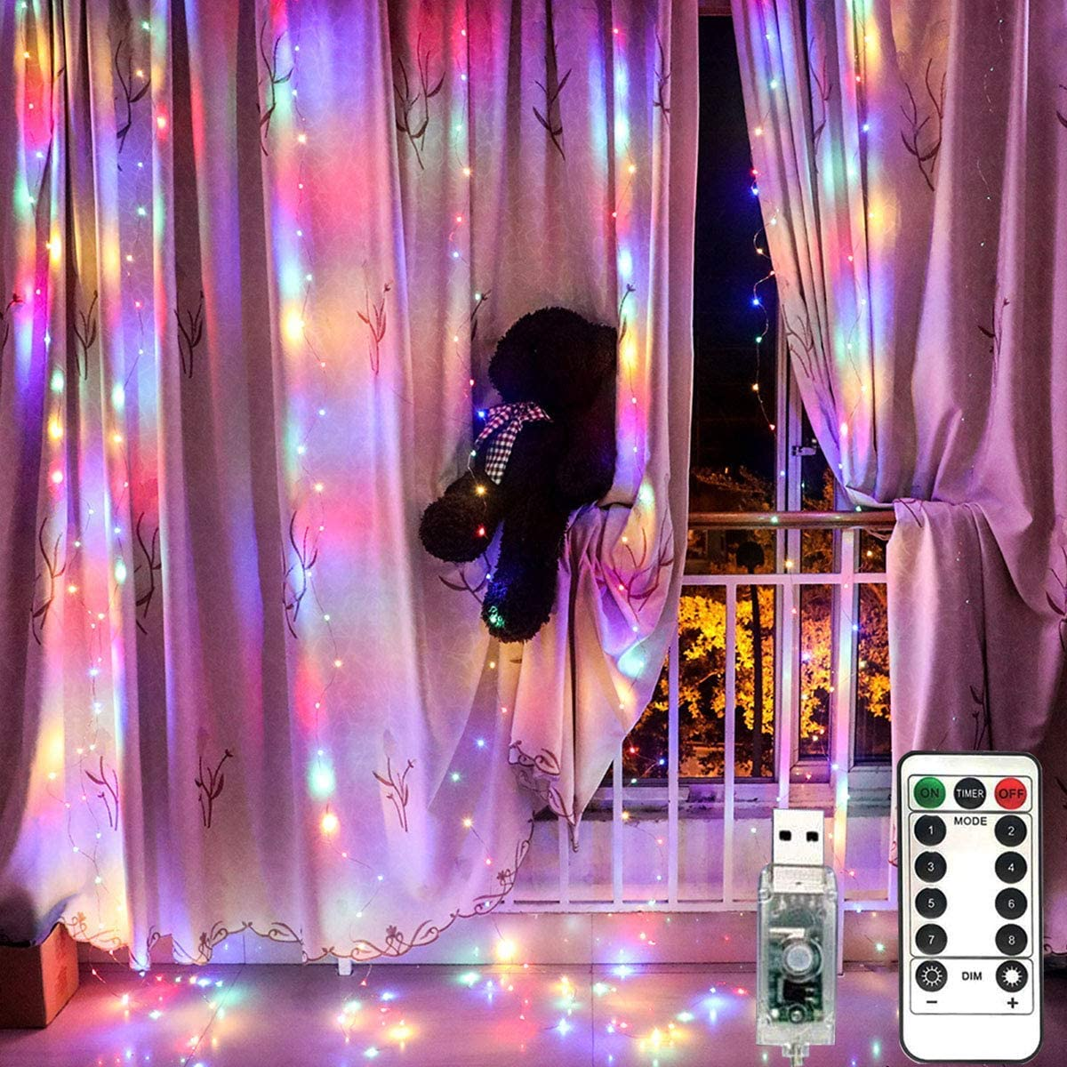 LiyuanQ 300 LED Window Curtain Fairy Lights USB Plug in Curtain String Lights 8 Modes Remote Control Twinkle Lights LED Silver String Lights for Indoor Wedding Party Garden Bedroom Decor (Multi Color)