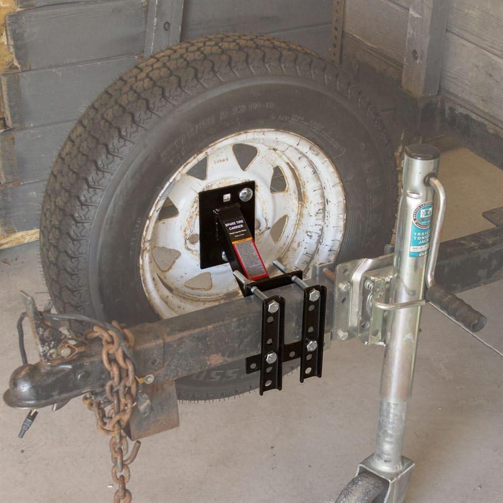 80071 Portador De Repuesto Para Remolque Con Recubrimiento En Polvo Negro Co...
