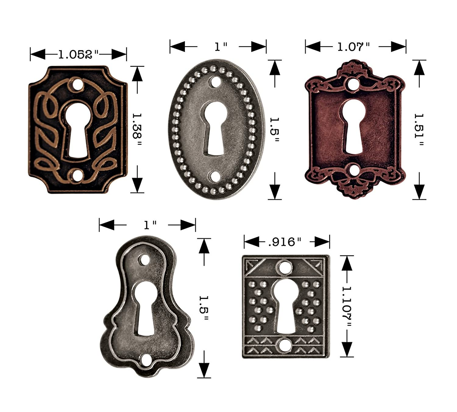 Antique Finishes 5 Keyholes Advantus Metal Keyholes with Long Fasteners by Tim Holtz Idea-Ology Various Sizes 10 Long Fasteners TH92718