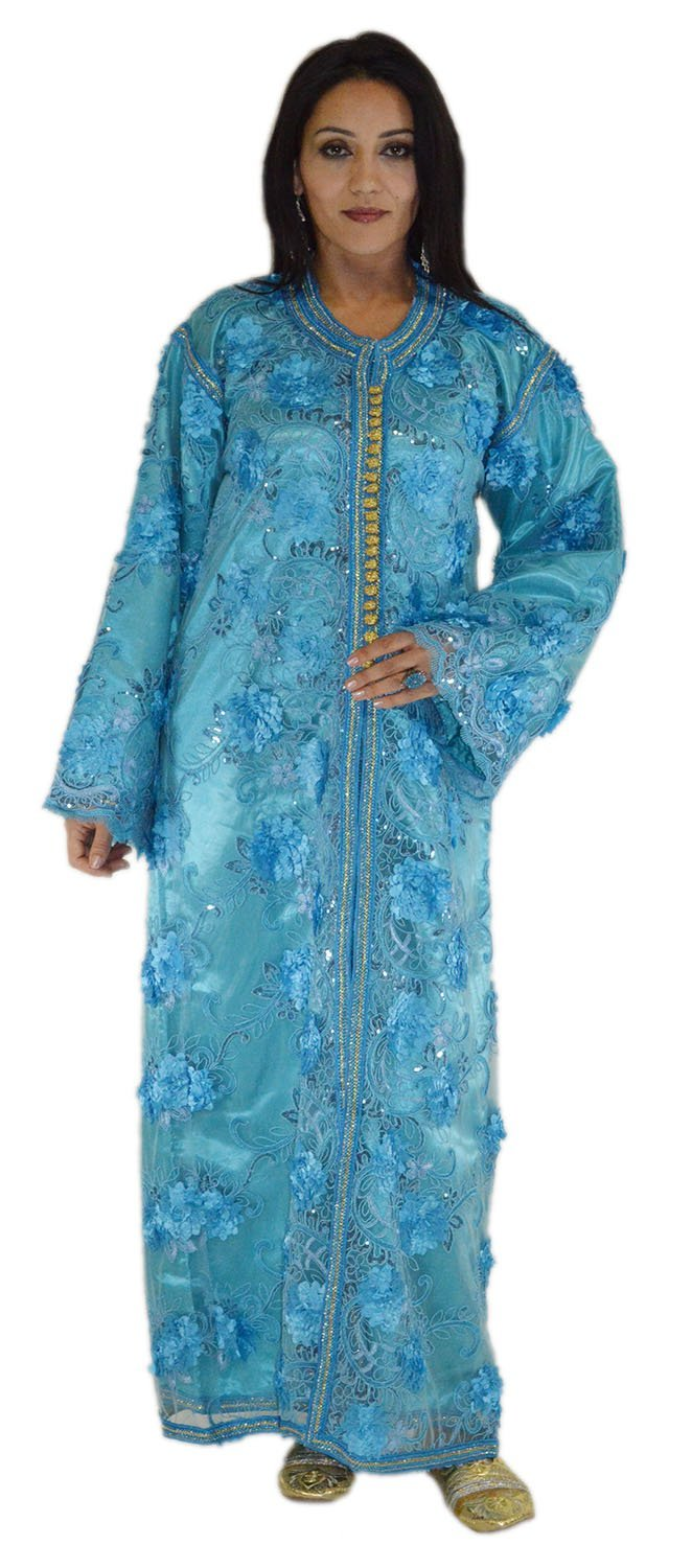 Moroccan Caftan handmade Wedding Gown 2 Pieces Embroidered Fits SMALL to LARGE