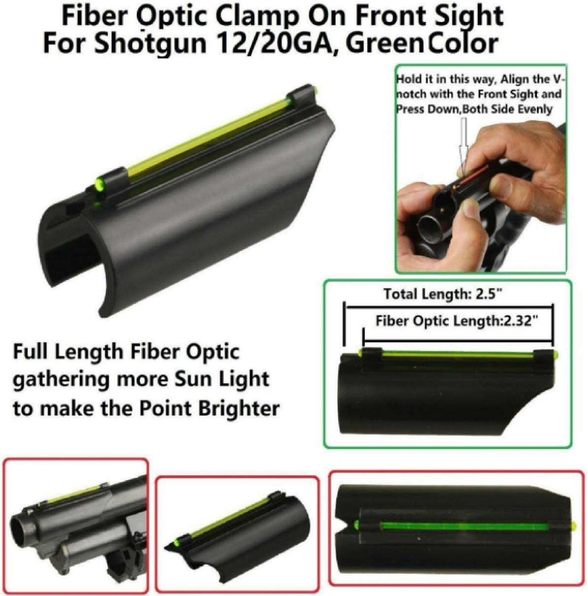 ARWIN Fiber Optic Universal Red Green Sight 12//20 Gauge TG92HA Home Defense