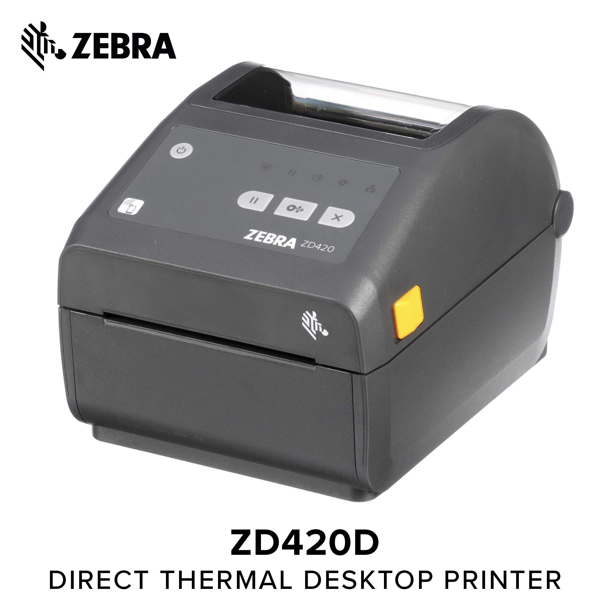 Zebra - ZD420d Direct Thermal Desktop Printer for Labels and Barcodes - Print Width 4 in - 300 dpi - Interface: WiFi, Bluetooth, USB - ZD42043-D01W01EZ