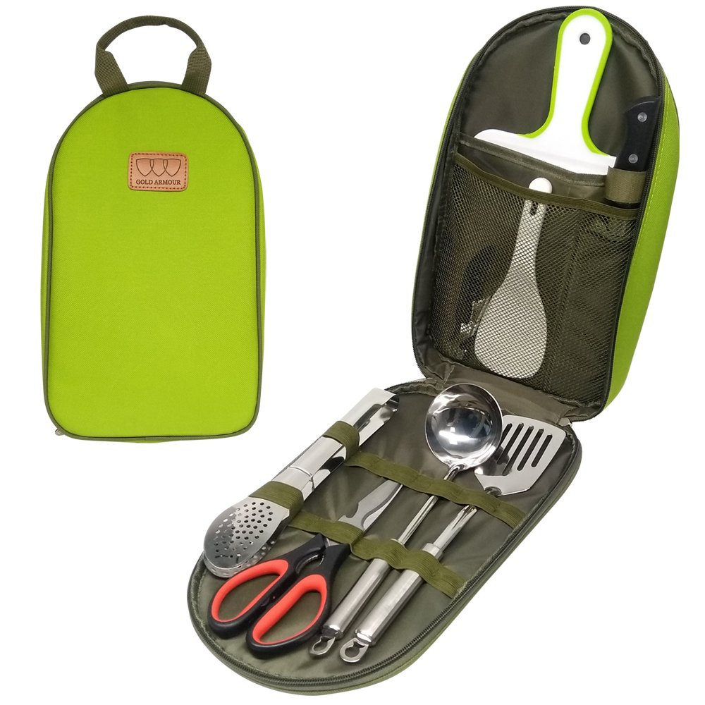 8Pcs Camping Cookware Kitchen Utensil Organizer Travel Set - Portable BBQ Camp Cookware Utensils Travel Kit with Water Resistant Case, Cutting Board, Rice Paddle, Tongs, Scissors, Knife (Green)