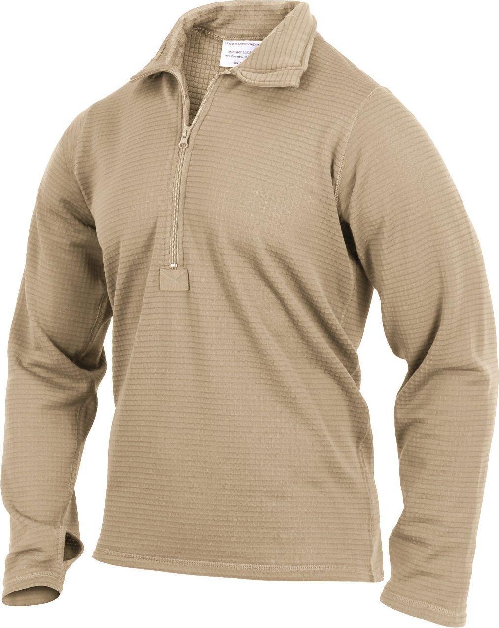 Desert Sand Gen III Waffle Knit Thermal Underwear Zip Up Collar Top Shirt by AMYE