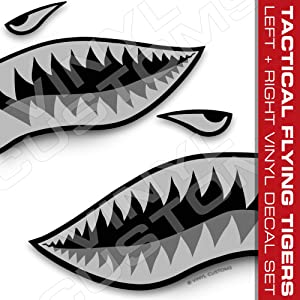 """Flying Tigers Shark Mouth Teeth Vinyl Decals Car Truck Boat Graphics Tactical (50"""" inches / 1 Pair)"""