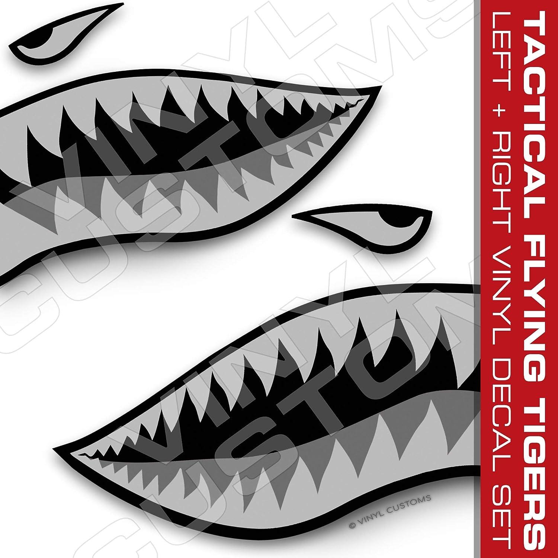 フライングタイガー デカール サメの歯 デカール 控えめなタクティカルセット 3インチ 3組 B07HNRYQ8Y