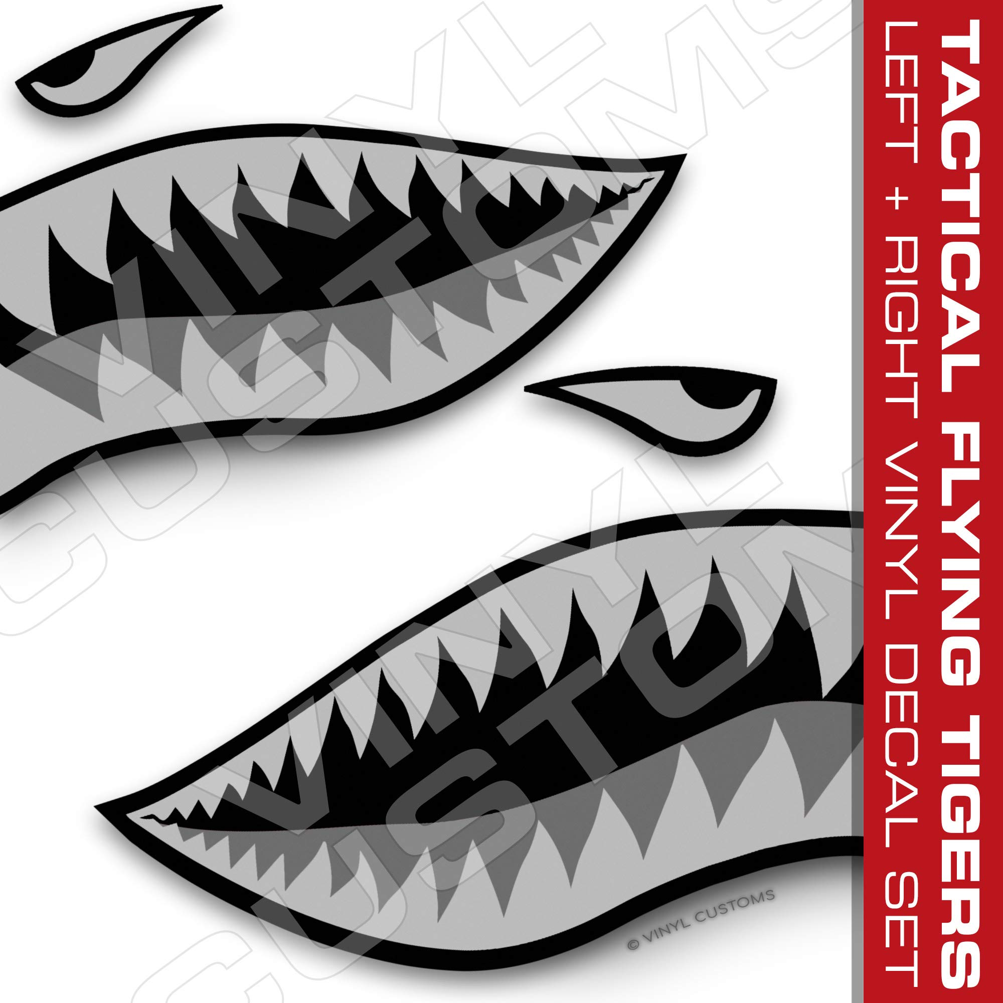 Flying Tigers Shark Mouth Teeth Vinyl Decals Car Truck Boat Graphics Tactical (30'' inches / 1 Pair)