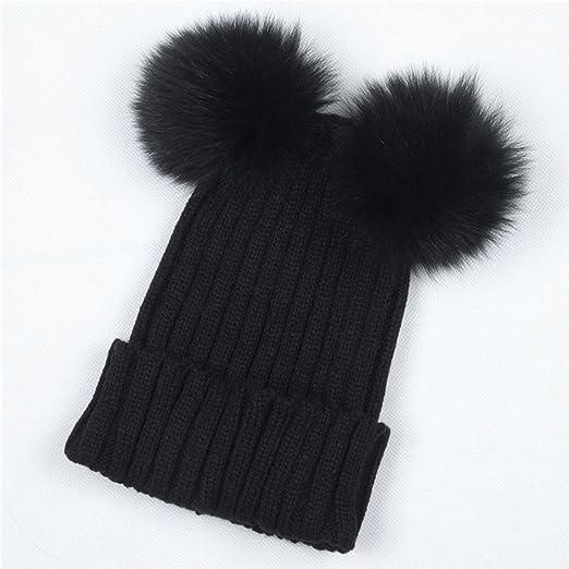 299150c0d1d MaxFox Women Winter Warm Hats Crochet Knit Cute Hairball Beanie Cap Cotton  Padded Hairband Accessories (