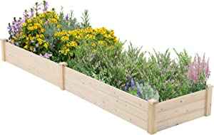 SUNCROWN Outdoor Wooden Raised Garden Bed Planter Box Kit for Vegetables Fruits Herb Grow,Patio or Yard Gardening,8ft - Natural