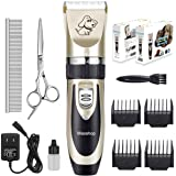 Maxshop Low Noise Rechargeable Dogs Clippers Grooming Trimming Kit Set with Long Life Battery Use for Small Middle Large Dogs and Cats Pets - Gold