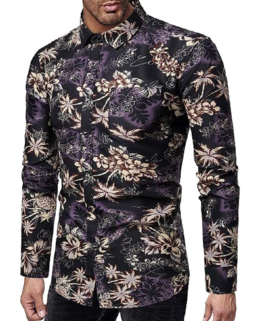 zhaoabao Mens Summer Hawaiian Flower Print Fashion Button Down Long Sleeve Shirt