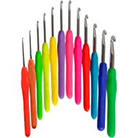 12 Premium Crochet Hooks Set USA Standard Sizes Letters and Metric Prints - Premium Ergonomic Handles for Extreme Comfort. Extra Long Smooth Hook Needles Great For Chunky Yarns - B 2.25 mm ~ L 8mm