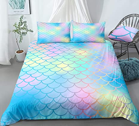 Blue Yellow Scale Bedding Mermaid Scale Duvet Cover Set Blue Pink Yellow Magic Fish Scales Printed Design Boys Girls Bedding Sets Queen 1 Duvet Cover 2 Pillowcases Queen Blue Pink Kitchen