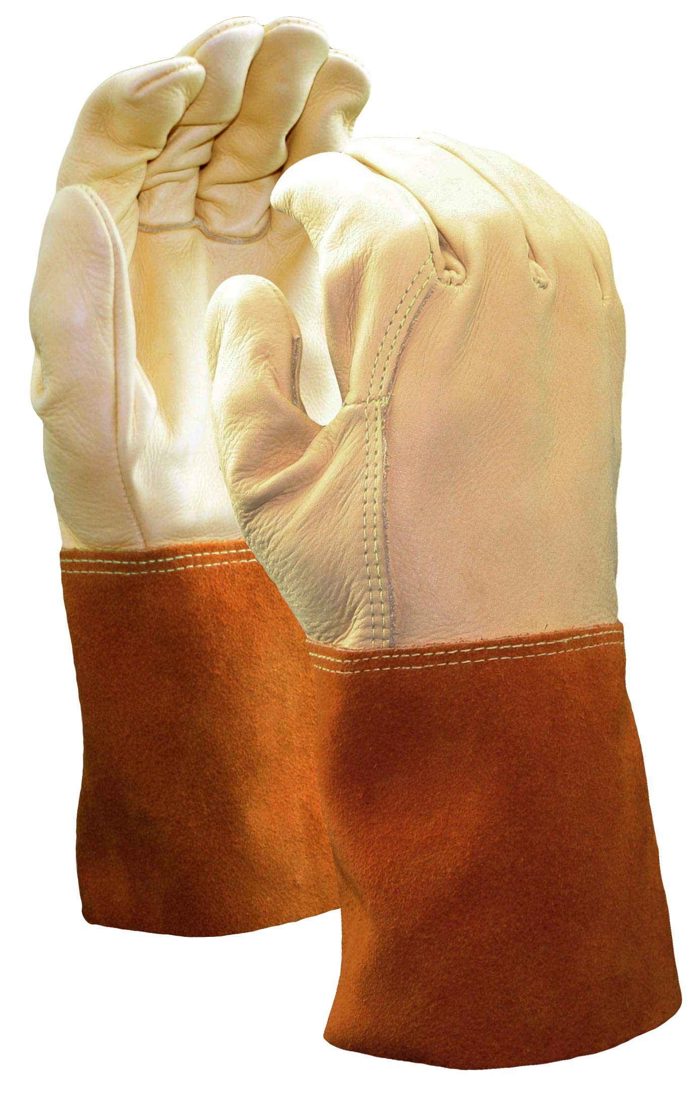 Cowhide Welder Gloves with Leather Gauntlet Cuff, Premium Grade | Beige/Orange Color, Unlined Lining, Kevlar Stitching Material - (Pack of 12)