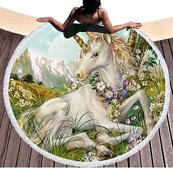 Mandala Unicornio con flores redondas Toalla con borlas boho Unicornio playa roundie fringing Beach techo Yoga Manta Matte mesa picnic hippie Beach bufanda ...