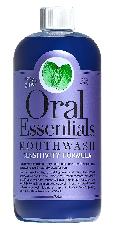Oral Essentials Sensitive Teeth Mouthwash 16 Fl Oz. Non-Toxic, Clinically Proven & Dentist Formulated