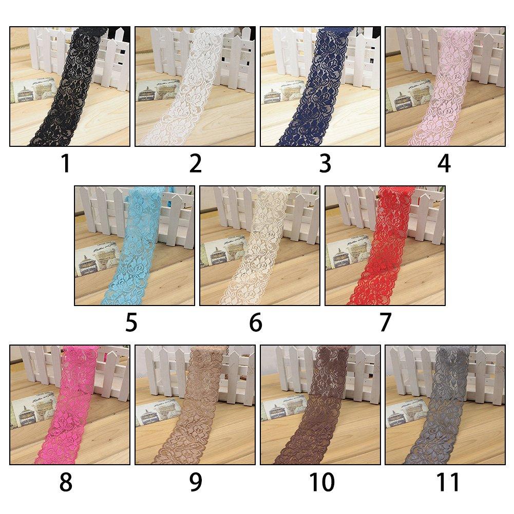 Beige Sangle de Couture Robe Jupe V/êtements Decor DIY Wrap Bricolage Taille Unique GEZICHTA 1/m /élastique Bordure en Dentelle Fleur Stretch Ruban