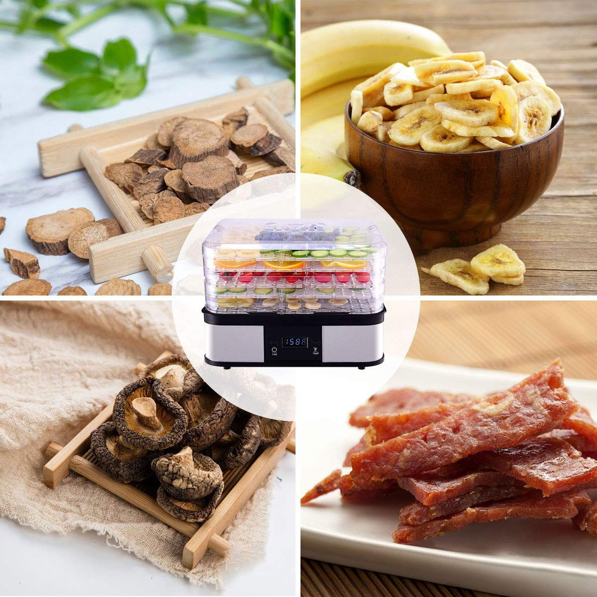 HAPPYGRILL Food Dehydrator Machine, Best Electric 5-Tier Home Food Meat Beef Jerky Fruit Vegetable Dehydrator Dryer Preserver, Professional 360 Degree Hot Air Circulation System, Easy to Clean(Black) by HAPPYGRILL (Image #4)