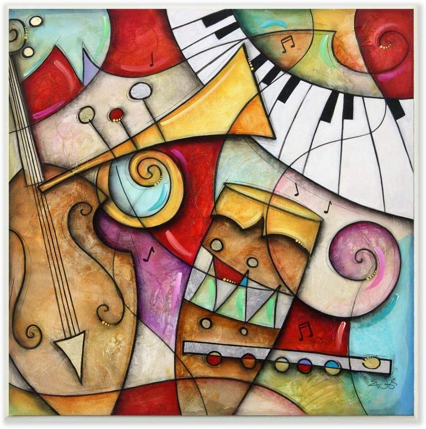 Stupell Industries Colorful Geometry Abstract Musical Instruments Painting, Design by Artist Eric Waugh Art, 12 x 0.5 x 12, Wall Plaque