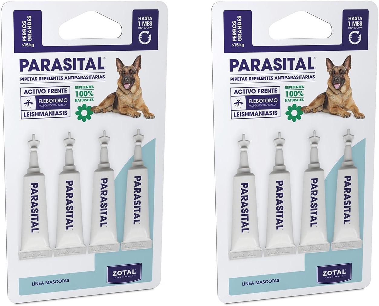 Parasital Pipetas Antiparasitarias para Perros Grandes de más de 15 kg - Pack de 8x5ml de Zotal - Activo Contra Leishmaniasis y demás Mosquitos, Pulgas y Garrapatas - Repelente 100% Natural