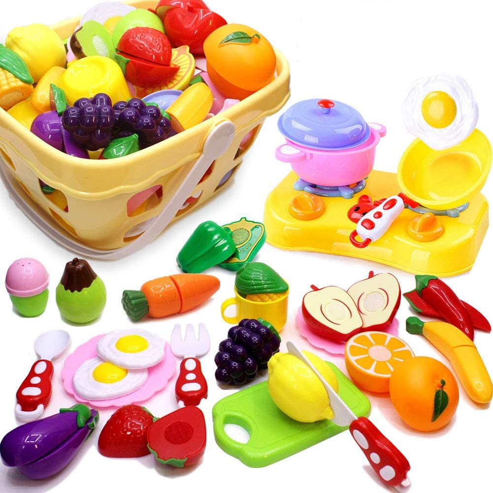 Cutting Play Food 32 Pieces Kitchen Pretend Playset for Kids Fruits Vegetables Come Apart by Velcro with Storage Basket, Educational Toys Early Age Basic Skills Development