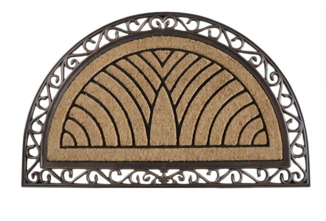 A1hc First Impression Half Round Rubber And Coir Doormat