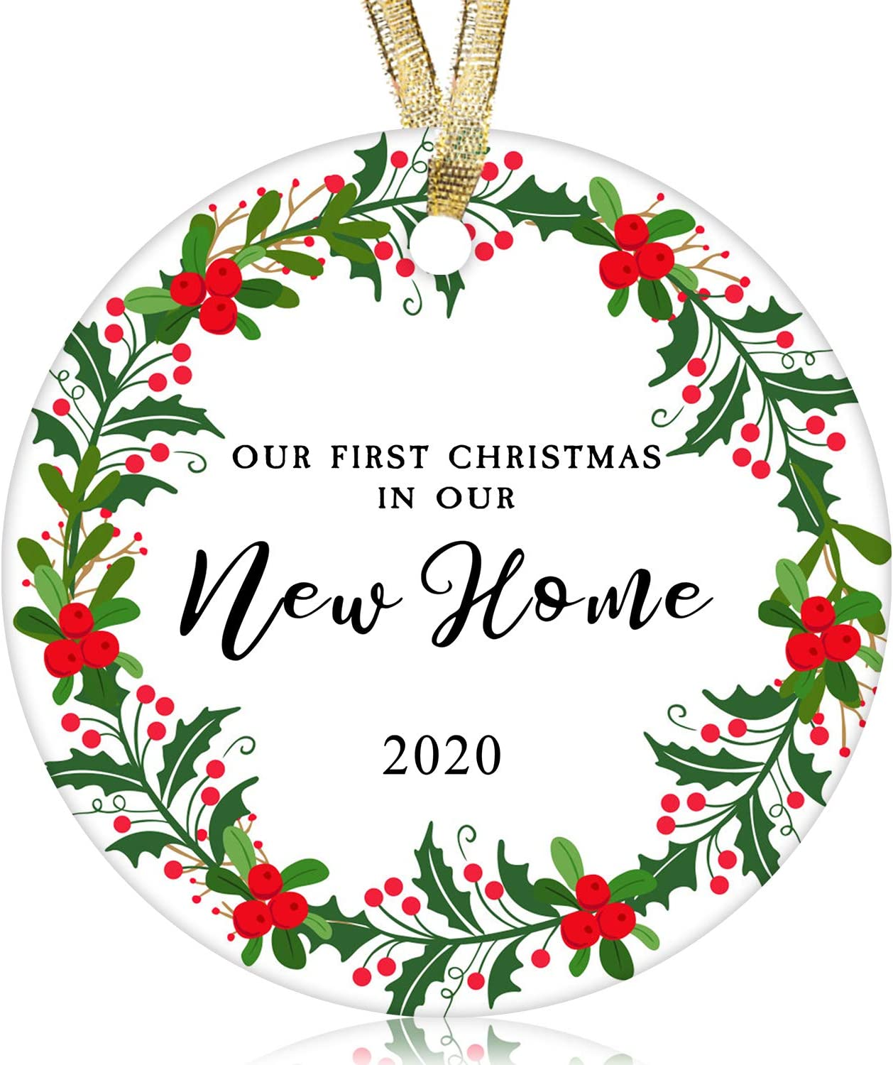 "NURIONSS Our First Christmas in Our New Home Ornaments 2020 - Christmas Wedding Decoration Gift for New Home New Homeowner New Apartment - 2.85"" Ceramic Ornament(New Home 5)"