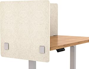 "VaRoom Acoustic Partition, Sound Absorbing Desk Divider – 24"" W x 24""H Privacy Desk Mounted Cubicle Panel, Linen"