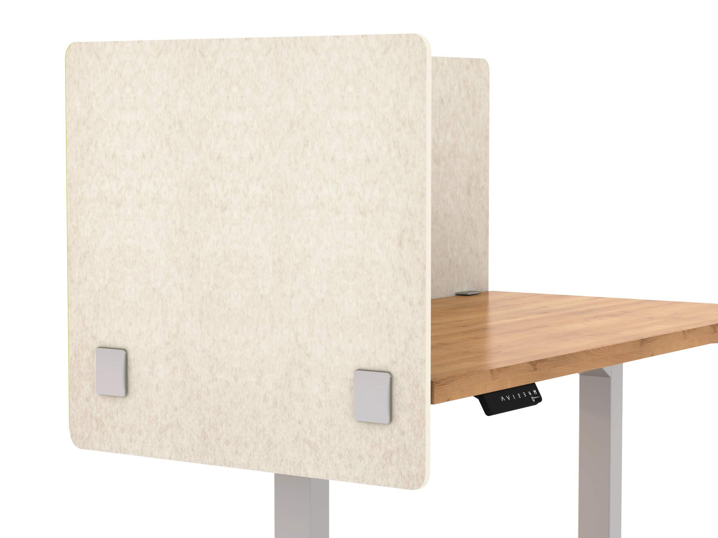 VaRoom Acoustic Partition, Sound Absorbing Desk Divider - 24'' W x 24''H Privacy Desk Mounted Cubicle Panel, Linen by VaRoom