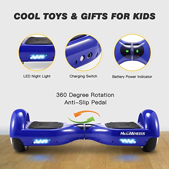 M MEGAWHEELS Scooter-Patinete Eléctrico Hoverboard, 6.5 Pulgadas con Bluetooth - Motor eléctrico 500w, Velocidad 10-12 Km/h.(Azul)