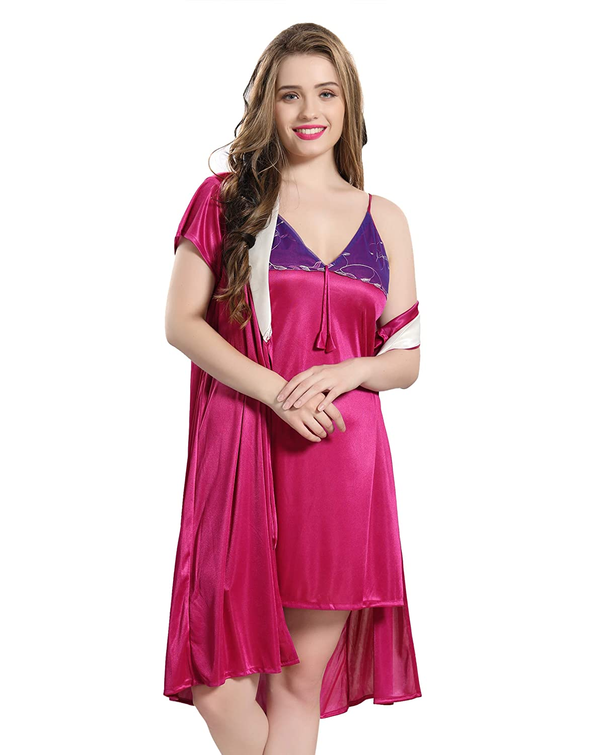 d00640f80c AV2 Women Satin Short Nighty with Lace   Robe 1375  Amazon.in  Clothing    Accessories