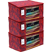 Kuber Industries Metalic Flower Non Woven Saree Cover, Large, Red