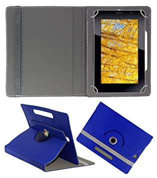 Acm Rotating 360 deg; Leather Flip Case for Iball Slide 3g 7271 Tablet Cover Stand Dark Blue Tablet Accessories