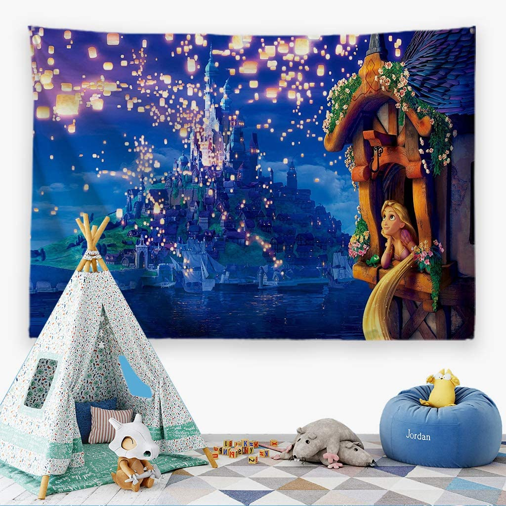 """ORTIGIA Tapestry Wall Hanging for Kids Children Home Decor for Bedroom, Kids Room, Living Room,Classroom,Dorm Polyester Fabric Needles Included- 60"""" W x 40"""" L (150cmx100cm) -Tangled"""