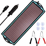 SUNAPEX 12V Solar trickle Charger,Battery Charger,Battery maintainer Portable Power Solar Panel Suitable for Car…