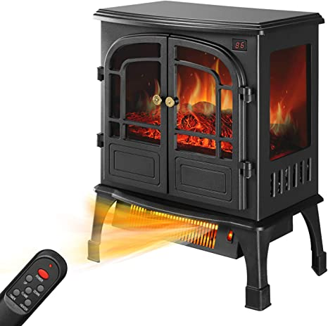 Hyd Parts Electric Fireplace Heater 750w 1500w Freestanding Fireplace Heater With Realistic Flame Indoor Electric Stove Heater With Remote Control Portable Etl Certified Home Kitchen