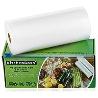 KitchenBoss Rollos Bolsas de Selladores al Vacío,3 Rolls 20x500cm, Rollos de la Bolsa en Relieve de Grado Comercial para el Ahorrador de Alimentos y Sous Vide Cocina,Aprobación de la FDA y BPA Free