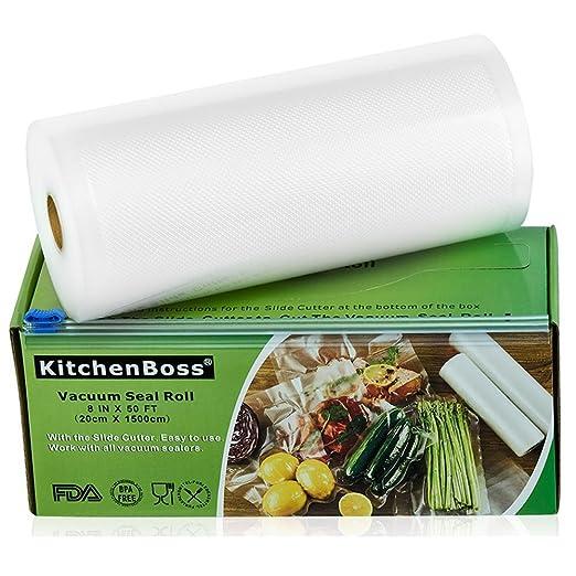KitchenBoss Bolsas de Vacío 1 Rolls 20x1500cm con Caja de Corte (No Más Tijeras) para Almacenaje de Alimentos,Sous Vide Cocina, Aprobación de la FDA y ...