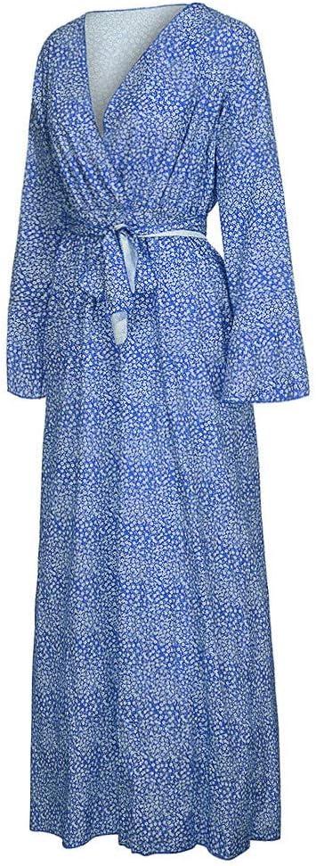 Amphia damska elegancka długa sukienka maxi sukienka wieczorowa, damska sukienka z dekoltem w kształcie litery V z nadrukiem, z motywem kwiatowym, długa sukienka maxi: Odzież