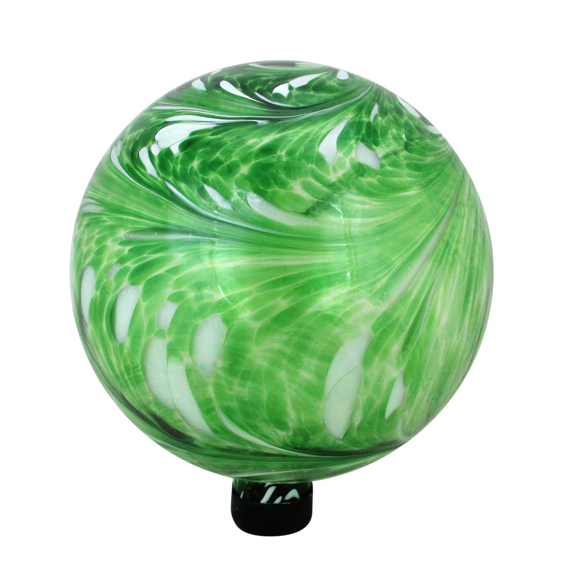 Northlight 10'' Green and White Swirl Designed Outdoor Patio Garden Gazing Ball