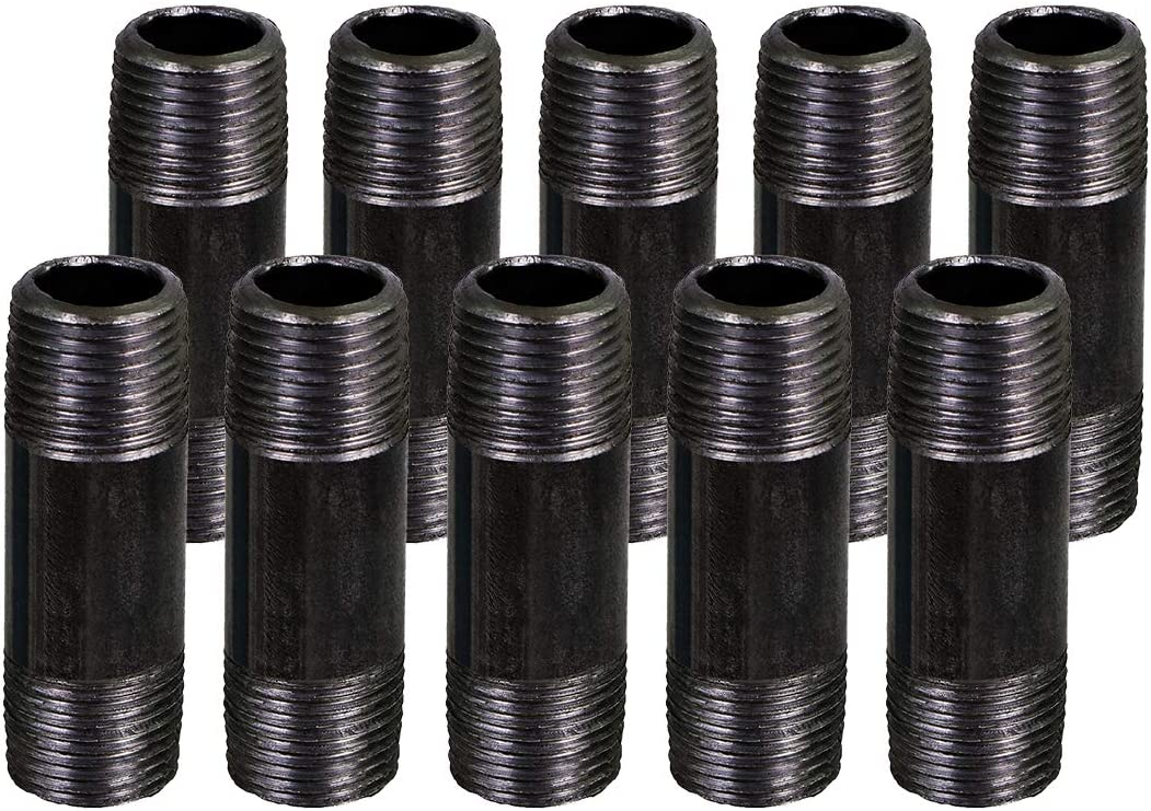 """SUPPLY GIANT OQCM1230-10 1/2 Inch Black Half Inch Malleable Steel Pipes Nipples Fitting, Build DIY Vintage Furniture, 1/2"""" x 3"""" (Pack Of 10)"""